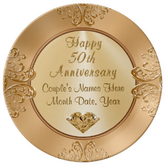 Goldene Hochzeit Anniversay Geschenke Porzellanteller