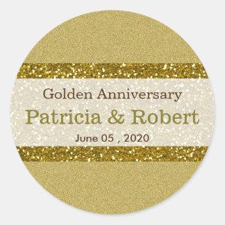 Goldene Hochzeits-Jahrestag des GoldGlitter-50. Runder Aufkleber