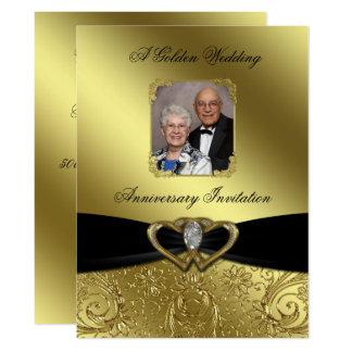 Goldene Hochzeits-Jahrestags-Foto-Einladung 16,5 X 22,2 Cm Einladungskarte
