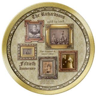 Goldene Hochzeitstag-Antike gestaltet Collage Porzellanteller