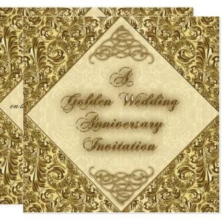 Goldene Hochzeitstag-Einladungs-Karte Quadratische 13,3 Cm Einladungskarte