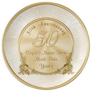 Goldene Hochzeitstag-Geschenke mit Ihrem Text Teller Aus Porzellan