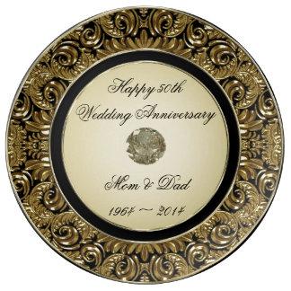 Goldene Hochzeitstag-Porzellan-Platte Teller Aus Porzellan