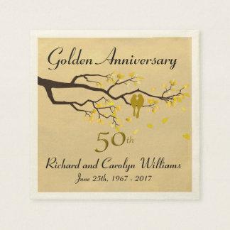 Goldene Jahrestags-Liebe-Vögel Serviette