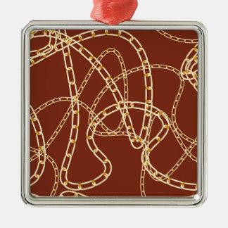 Goldene Ketten-Hintergrund 2 Quadratisches Silberfarbenes Ornament