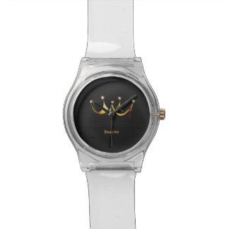 Goldene königliche Königin-Kronen-Schwarz-Uhr Uhr