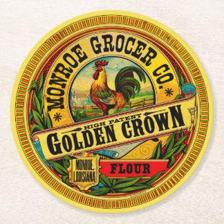 Goldene Kronen-hohes Patent-Mehl Kartonuntersetzer Rund