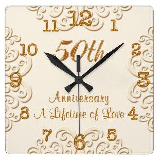 Goldene kundengerechte 50. Hochzeitstag-Uhr Uhr