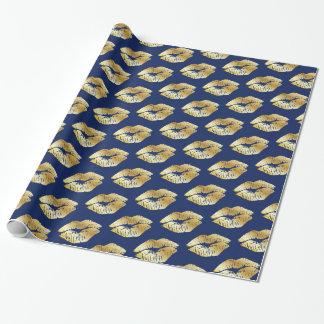Goldene Küsse auf Königsblau-Packpapier Geschenkpapier