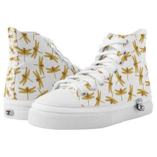 Goldene Libellen-hohe Spitzenturnschuhe Hoch-geschnittene Sneaker