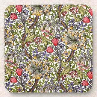 Goldene Lilien-Vintages Blumenmuster William Getränkeuntersetzer