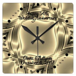 Goldene Linien 50. Hochzeitstag Quadratische Wanduhr
