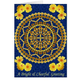 Goldene Mohnblumen-Mandala als Karte