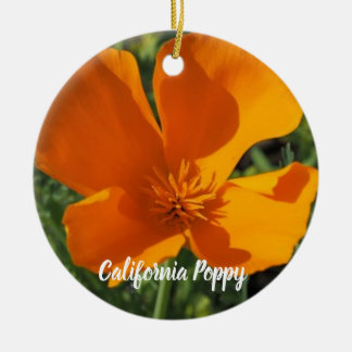 Goldene Mohnblumen-Weihnachtsverzierung Keramik Ornament