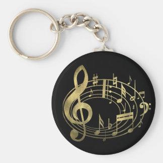 Goldene musikalische Anmerkungen in der ovalen For Schlüsselanhänger