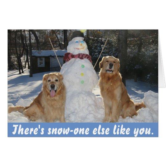 Goldene Retriever mit Schneemann-Freundschaft Karte