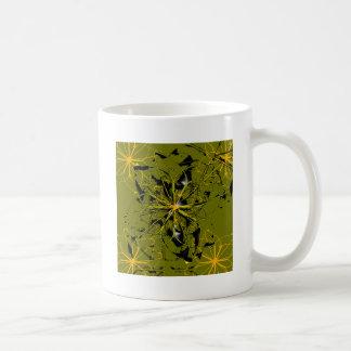 Goldene Rosen-Blumenblatt-abstrakte Flecken Kaffeetasse