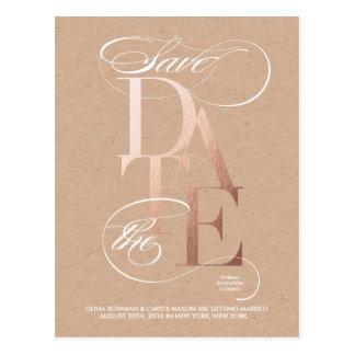 Goldene Save the Date Mitteilung Postkarte