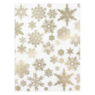 Goldene Schneeflocken Tischdecke