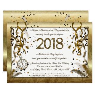Goldene Silvester-Hochzeits-Einladungen Karte