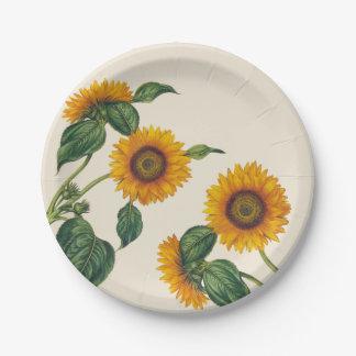 """Goldene Sonnenblume-botanischer Pappteller 7"""""""