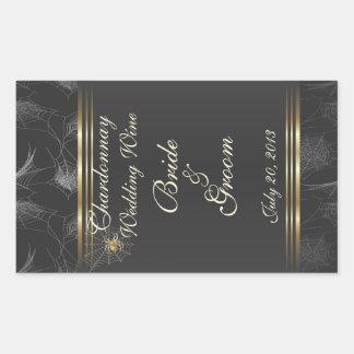 Goldene Spinnen-eleganter Hochzeits-Wein-Aufkleber Rechteckiger Aufkleber