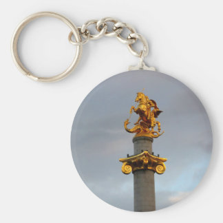 Goldene Statue von St George, Republik Georgien Standard Runder Schlüsselanhänger