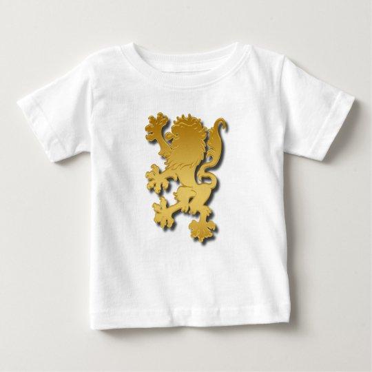 Goldene Steigung prägeartiger heraldischer Löwe Baby T-shirt