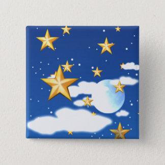 Goldene Sterne - Quadratischer Button 5,1 Cm