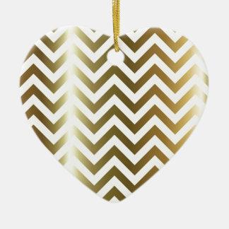 Goldene Streifen-Zickzack Muster Keramik Ornament