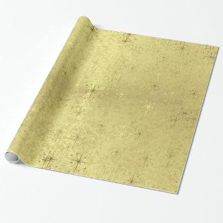 Goldene strukturierte Feiertags-Weihnachtssterne Geschenkpapier