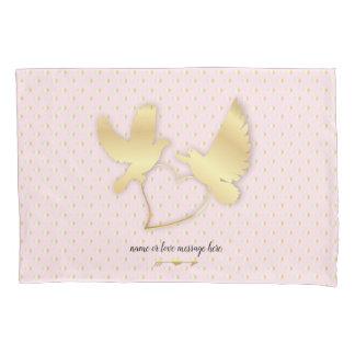 Goldene Tauben mit einem goldenen Herzen, leichte Kissen Bezug