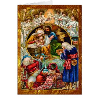 Goldene WeihnachtsGeburt Christis-Karte Karte