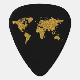 goldene Weltkarte auf dem Schwarzen, Plektrum
