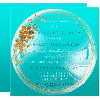 Goldener Blumenozean-Blasen-Geburtstag Ombre Quadratische 13,3 Cm Einladungskarte