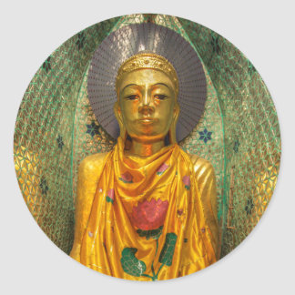 Goldener Buddha im Tempel Runder Aufkleber