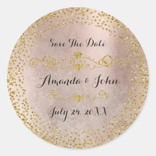 Goldener Confetti-Glitter erröten Save the Date Runder Aufkleber