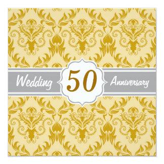 Goldener Damast, 50. Hochzeitstag Quadratische 13,3 Cm Einladungskarte