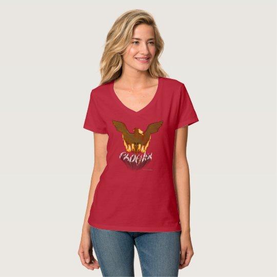 Goldener Damen Phoenix V-Hals Nano-T - Shirt