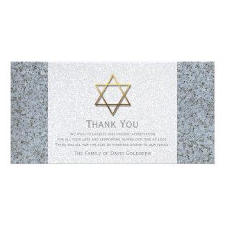 Goldener Davidsstern Beileid Stein-3 danken Ihnen Individuelle Foto Karten