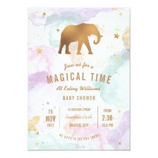 Goldener Elefant mit PastellAquarell-Babyparty Karte