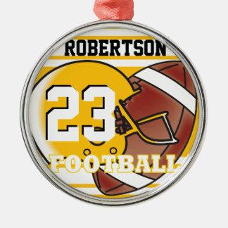 Goldener gelber und weißer Fußball Rundes Silberfarbenes Ornament