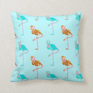 Goldener Glitter und blaues Flamingo-Muster Kissen