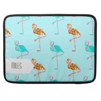 Goldener Glitter und blaues Flamingo-Muster MacBook Pro Sleeve
