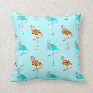 Goldener Glitter und blaues Flamingo-Muster Zierkissen