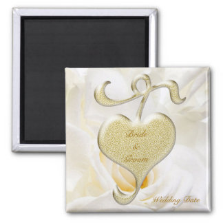 Goldener Herz-Gastgeschenk Hochzeits-Magnet Quadratischer Magnet