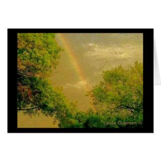 Goldener Himmel-Regenbogen Grußkarte