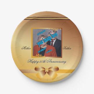 Goldener Hochzeitstag-kundengerechtes Wegwerf Pappteller 17,8 Cm