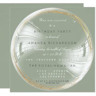 Goldener Kreis-Blasen-Geburtstag Bachelorette Quadratische 13,3 Cm Einladungskarte