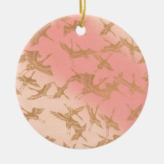 Goldener Origami Kran Keramik Ornament